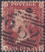 1857 1d Rose-red SG40 Plate 34 'AK'